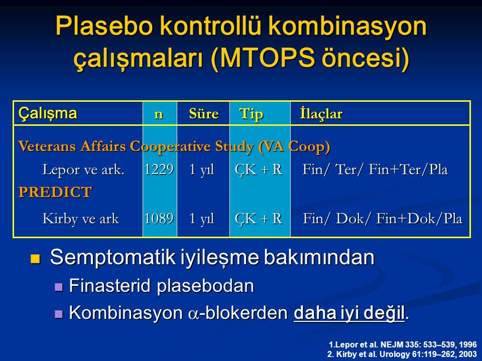 Plasebo kontrollü kombinasyon çalışmaları (MTOPS öncesi) Semptomatik iyileşme bakımından Semptomatik iyileşme bakımından Finasterid plasebodan Finaste