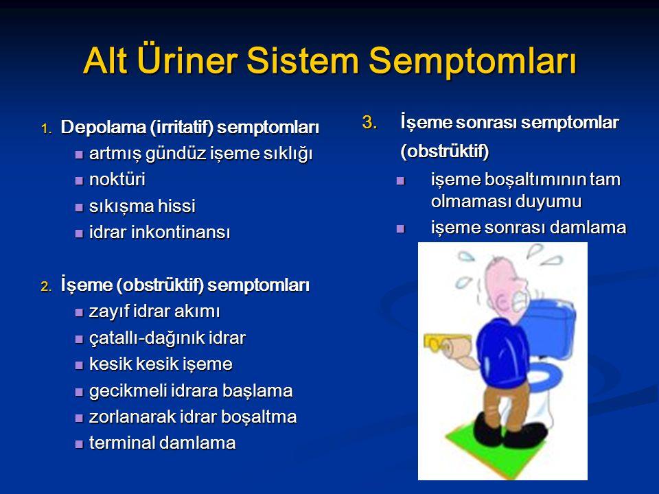Alt Üriner Sistem Semptomları 1. Depolama (irritatif) semptomları artmış gündüz işeme sıklığı artmış gündüz işeme sıklığı noktüri noktüri sıkışma hiss