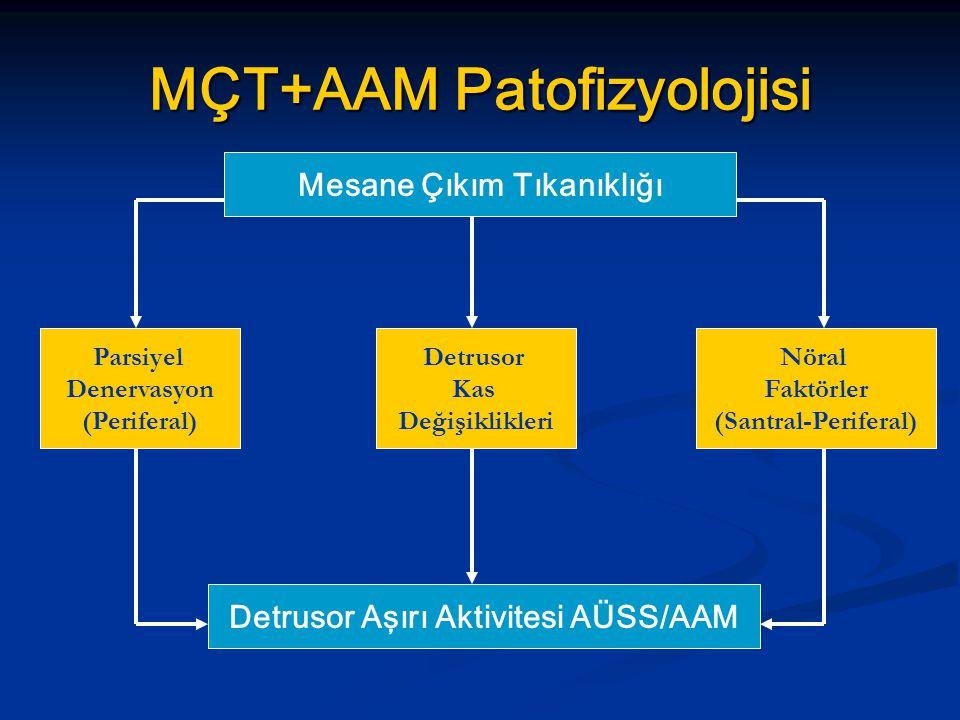 MÇT+AAM Patofizyolojisi Mesane Çıkım Tıkanıklığı Detrusor Aşırı Aktivitesi AÜSS/AAM Parsiyel Denervasyon (Periferal) Parsiyel Denervasyon (Periferal)