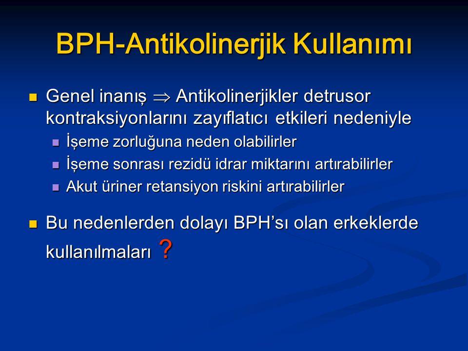 BPH-Antikolinerjik Kullanımı Genel inanış  Antikolinerjikler detrusor kontraksiyonlarını zayıflatıcı etkileri nedeniyle Genel inanış  Antikolinerjik