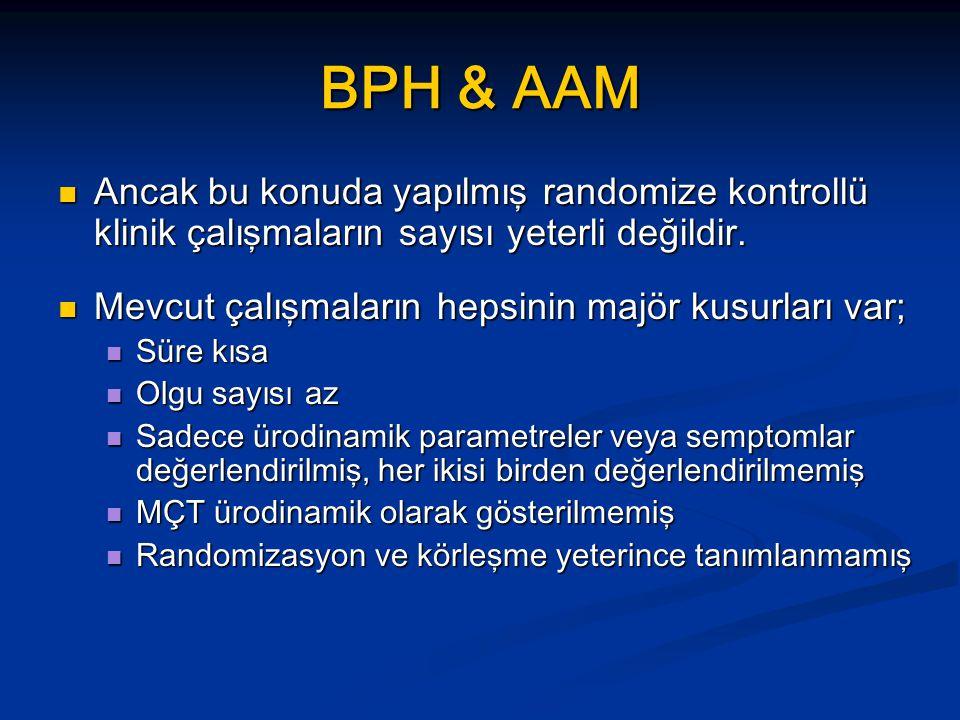 BPH & AAM Ancak bu konuda yapılmış randomize kontrollü klinik çalışmaların sayısı yeterli değildir. Ancak bu konuda yapılmış randomize kontrollü klini