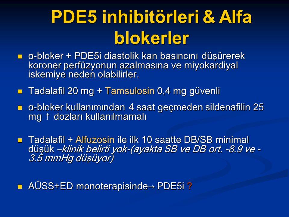 PDE5 inhibitörleri & Alfa blokerler α-bloker + PDE5i diastolik kan basıncını düşürerek koroner perfüzyonun azalmasına ve miyokardiyal iskemiye neden o