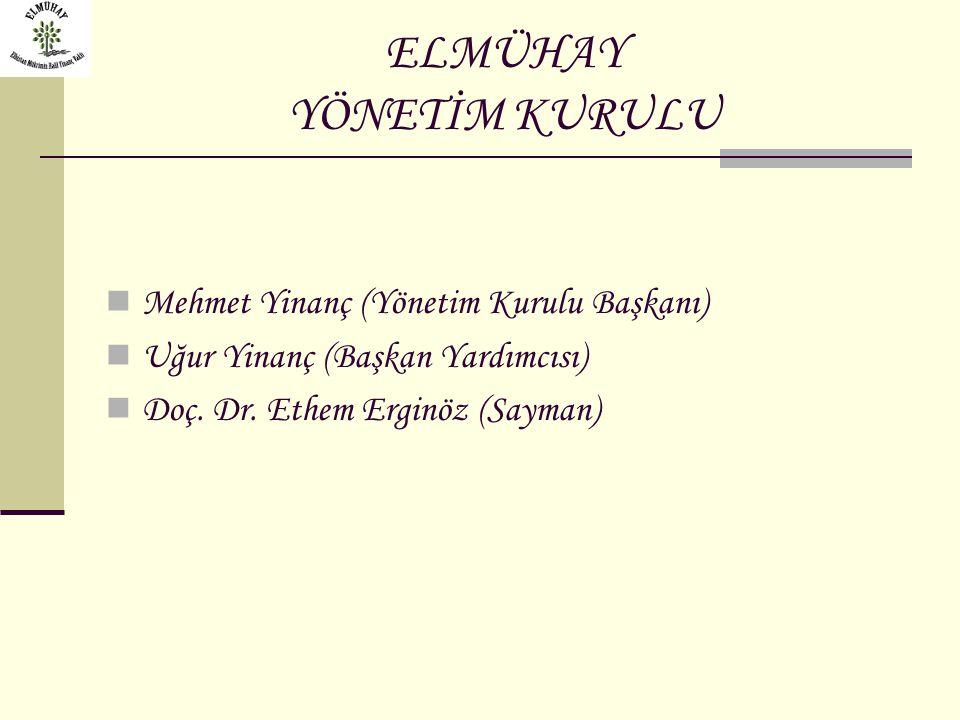 ELMÜHAY YÖNETİM KURULU Mehmet Yinanç (Yönetim Kurulu Başkanı) Uğur Yinanç (Başkan Yardımcısı) Doç. Dr. Ethem Erginöz (Sayman)