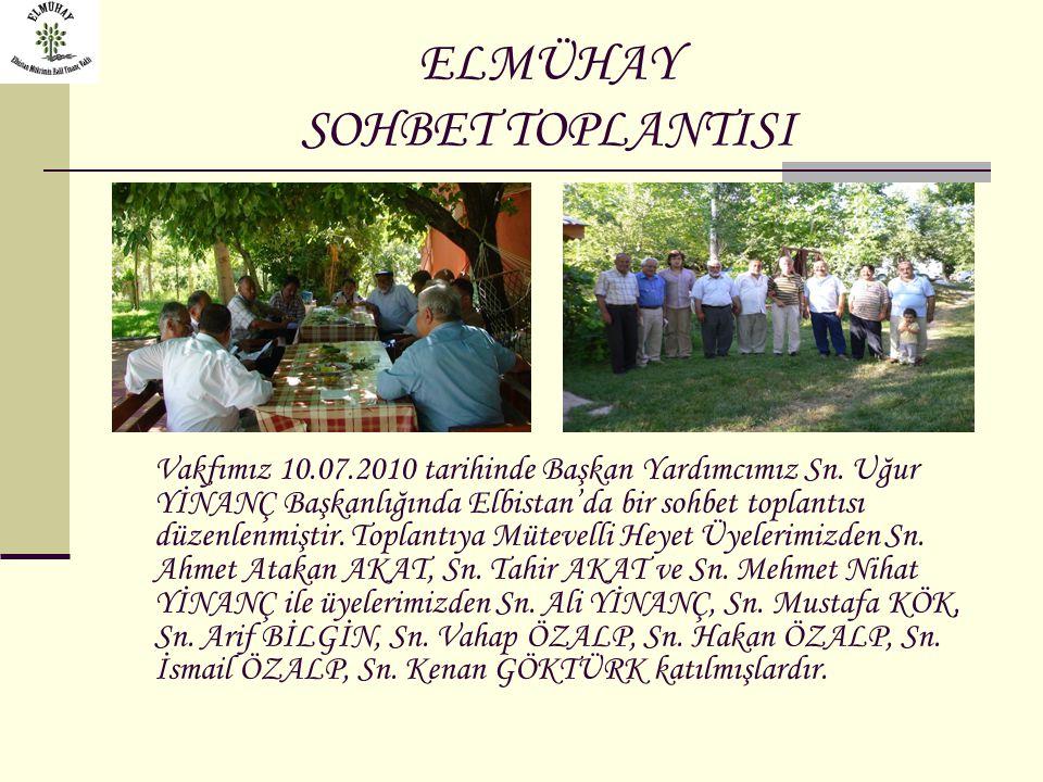 ELMÜHAY SOHBET TOPLANTISI Vakfımız 10.07.2010 tarihinde Başkan Yardımcımız Sn. Uğur YİNANÇ Başkanlığında Elbistan'da bir sohbet toplantısı düzenlenmiş