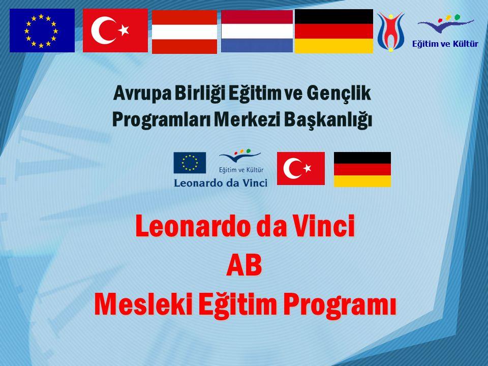 Eğitim ve Kültür Comenius Okul Eğitimi Erasmus Y ü ksek Ö ğretim & İleri Eğitim Leonardo da Vinci İlk ve s ü rekli Mesleki Eğitim ve Ö ğretim Grundtvig Yetişkin Eğitimi ULUSAL AJANS (Avrupa Birliği Eğitim ve Gençlik Programı) DPT T.C.
