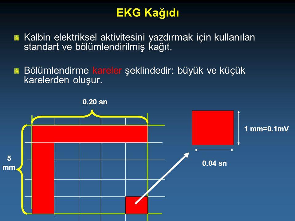 EKG Kağıdı Kalbin elektriksel aktivitesini yazdırmak için kullanılan standart ve bölümlendirilmiş kağıt. Bölümlendirme kareler şeklindedir: büyük ve k