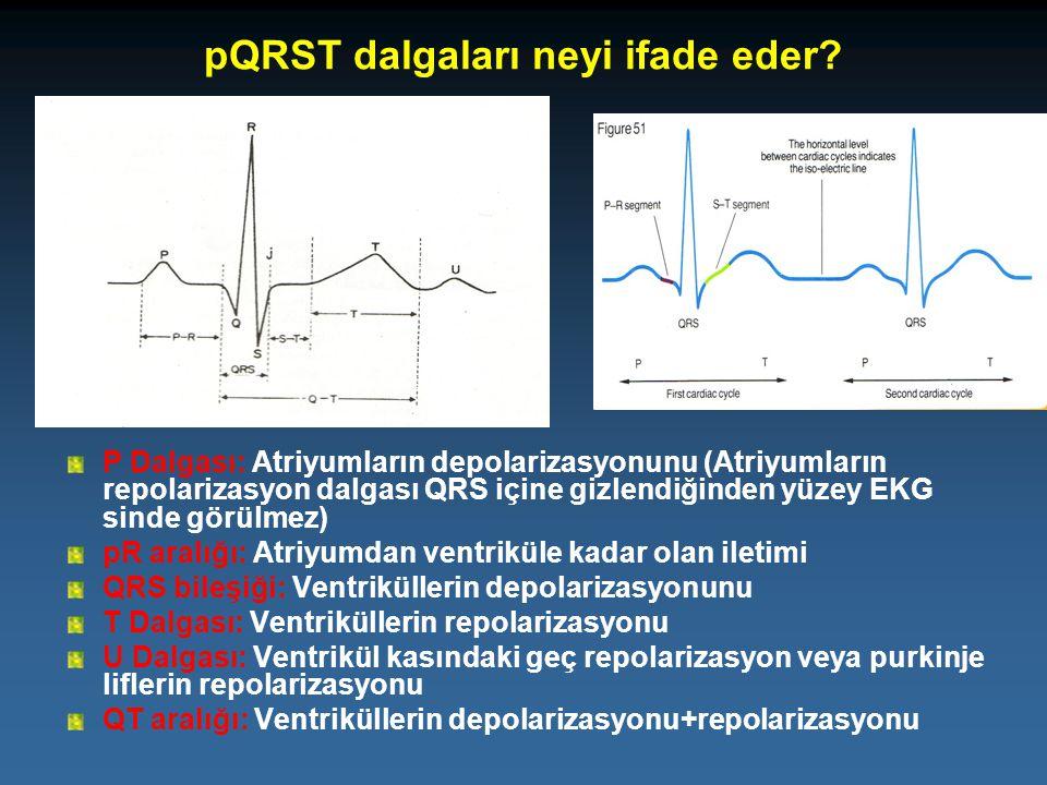 pQRST dalgaları neyi ifade eder? P Dalgası: Atriyumların depolarizasyonunu (Atriyumların repolarizasyon dalgası QRS içine gizlendiğinden yüzey EKG sin