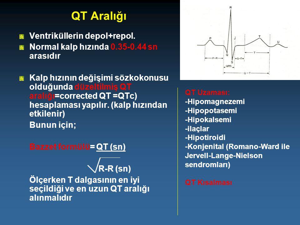 QT Aralığı Ventriküllerin depol+repol. Normal kalp hızında 0.35-0.44 sn arasıdır Kalp hızının değişimi sözkokonusu olduğunda düzeltilmiş QT aralığı=co