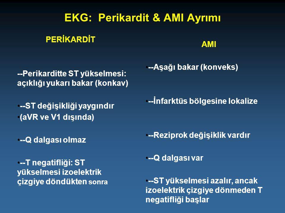 EKG: Perikardit & AMI Ayrımı PERİKARDİT --Perikarditte ST yükselmesi: açıklığı yukarı bakar (konkav) --ST değişikliği yaygındır (aVR ve V1 dışında) --