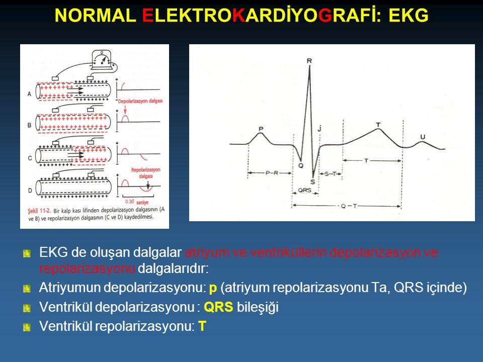NORMAL ELEKTROKARDİYOGRAFİ: EKG EKG de oluşan dalgalar atriyum ve ventriküllerin depolarizasyon ve repolarizasyonu dalgalarıdır: Atriyumun depolarizas