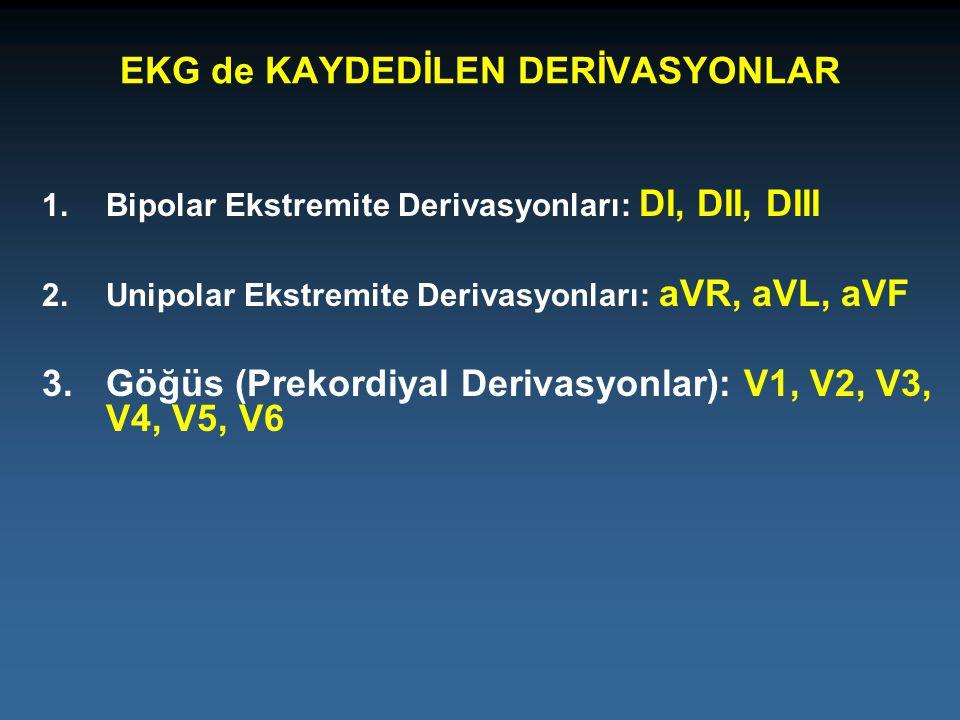 1.Bipolar Ekstremite Derivasyonları: DI, DII, DIII 2.Unipolar Ekstremite Derivasyonları: aVR, aVL, aVF 3.Göğüs (Prekordiyal Derivasyonlar): V1, V2, V3