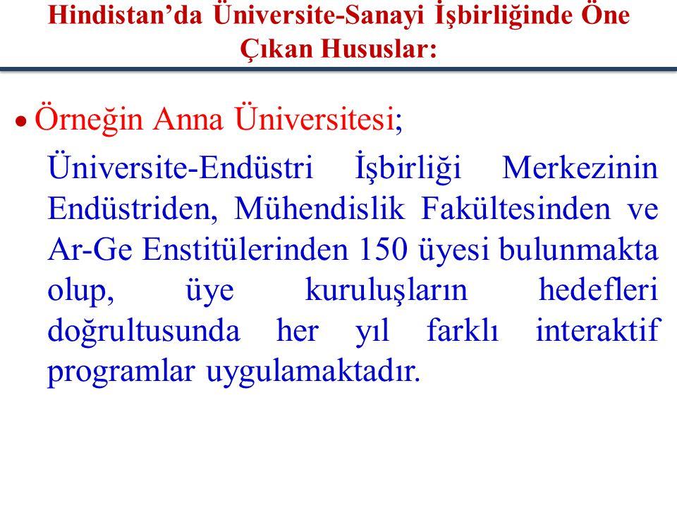  Örneğin Anna Üniversitesi; Üniversite-Endüstri İşbirliği Merkezinin Endüstriden, Mühendislik Fakültesinden ve Ar-Ge Enstitülerinden 150 üyesi bulunm