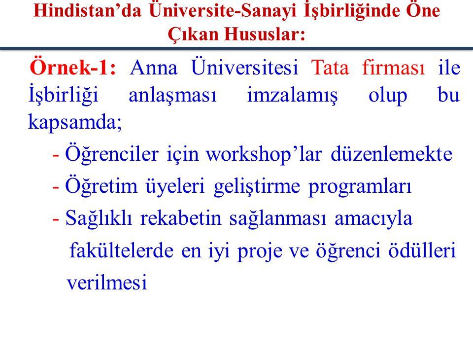 Örnek-1: Anna Üniversitesi Tata firması ile İşbirliği anlaşması imzalamış olup bu kapsamda; - Öğrenciler için workshop'lar düzenlemekte - Öğretim üyel