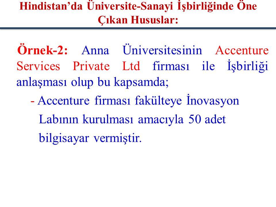 Örnek-2: Anna Üniversitesinin Accenture Services Private Ltd firması ile İşbirliği anlaşması olup bu kapsamda; - Accenture firması fakülteye İnovasyon