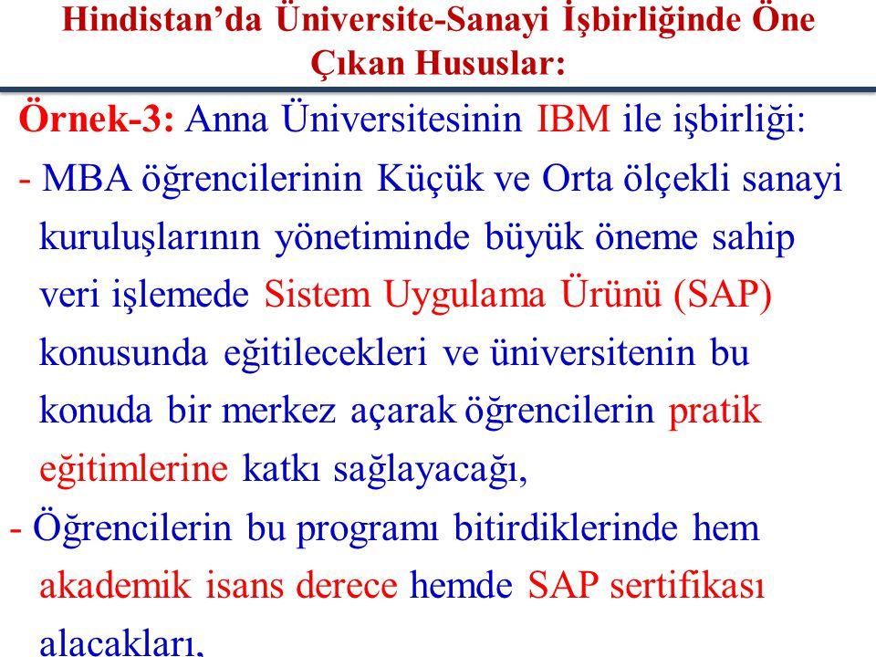 Örnek-3: Anna Üniversitesinin IBM ile işbirliği: - MBA öğrencilerinin Küçük ve Orta ölçekli sanayi kuruluşlarının yönetiminde büyük öneme sahip veri i