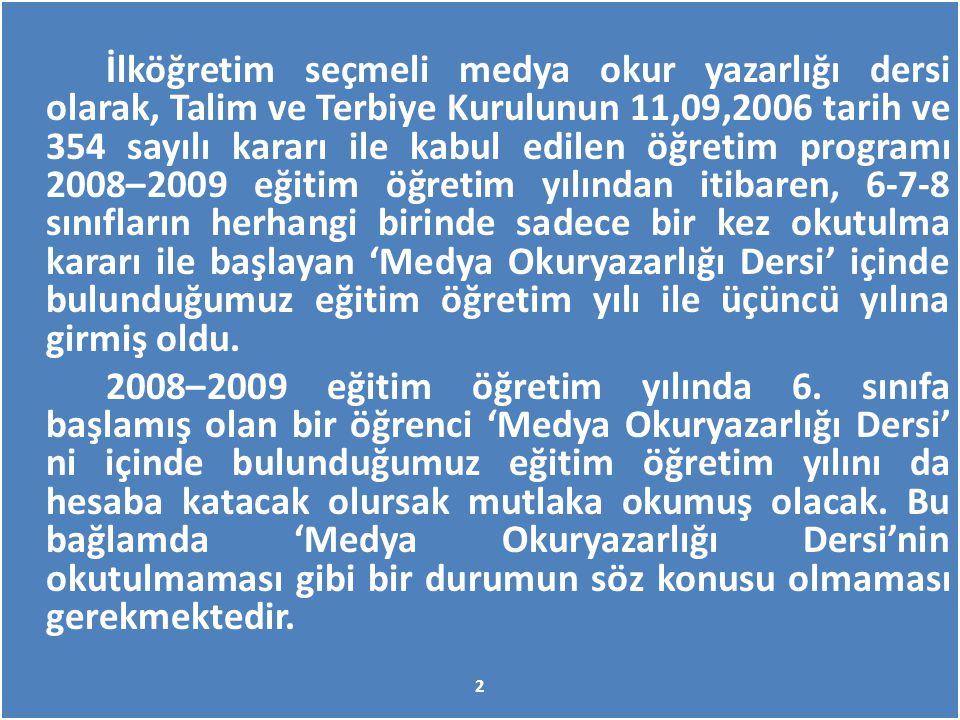 İlköğretim seçmeli medya okur yazarlığı dersi olarak, Talim ve Terbiye Kurulunun 11,09,2006 tarih ve 354 sayılı kararı ile kabul edilen öğretim progra