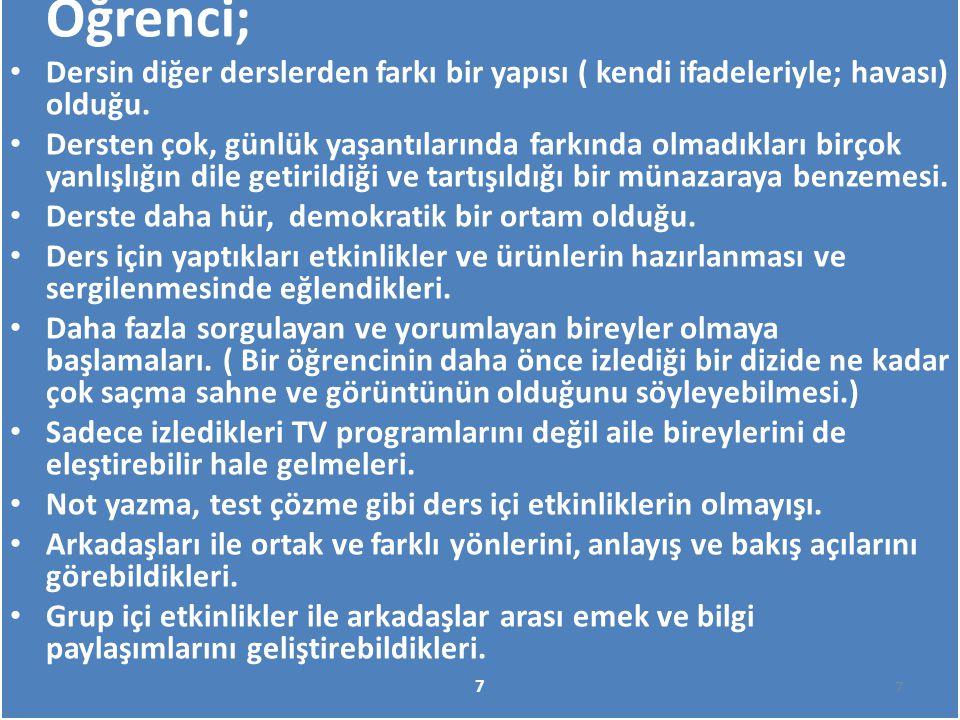 Yukarıda sıraladığımız öğretmen ve öğrenci gözüyle 'Medya Okuryazarlığı Dersi' bu gün sadece Konya'da değil tüm Türkiye'de tercih edilen bir ders olduğu kanaatindeyiz.