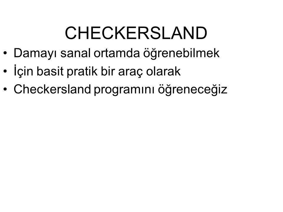 CHECKERSLAND Damayı sanal ortamda öğrenebilmek İçin basit pratik bir araç olarak Checkersland programını öğreneceğiz