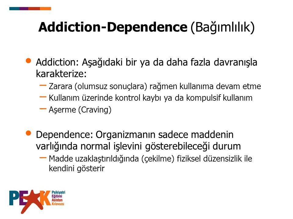 Addiction-Dependence (Bağımlılık) Addiction: Aşağıdaki bir ya da daha fazla davranışla karakterize: – Zarara (olumsuz sonuçlara) rağmen kullanıma deva