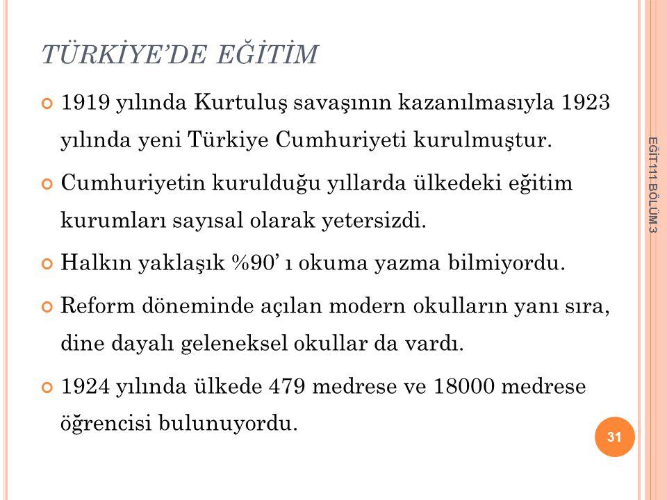 TÜRKİYE'DE EĞİTİM 1919 yılında Kurtuluş savaşının kazanılmasıyla 1923 yılında yeni Türkiye Cumhuriyeti kurulmuştur. Cumhuriyetin kurulduğu yıllarda ül