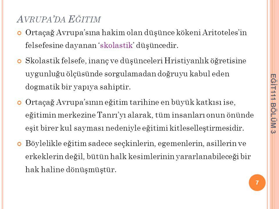 OSMANLI İMPARATORLUĞUNDA GELENEKSEL EĞİTİM Osmanlı imparatorluğu farklı din ve kültüre sahip topluluklardan oluştuğu için tek bir örgün eğitim sistemi gelişmemiştir.
