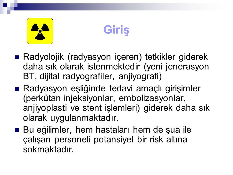 Giriş Radyolojik (radyasyon içeren) tetkikler giderek daha sık olarak istenmektedir (yeni jenerasyon BT, dijital radyografiler, anjiyografi) Radyasyon