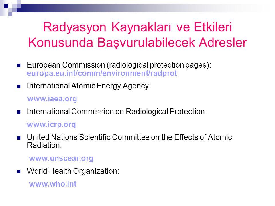 Radyasyon Kaynakları ve Etkileri Konusunda Başvurulabilecek Adresler European Commission (radiological protection pages): europa.eu.int/comm/environme
