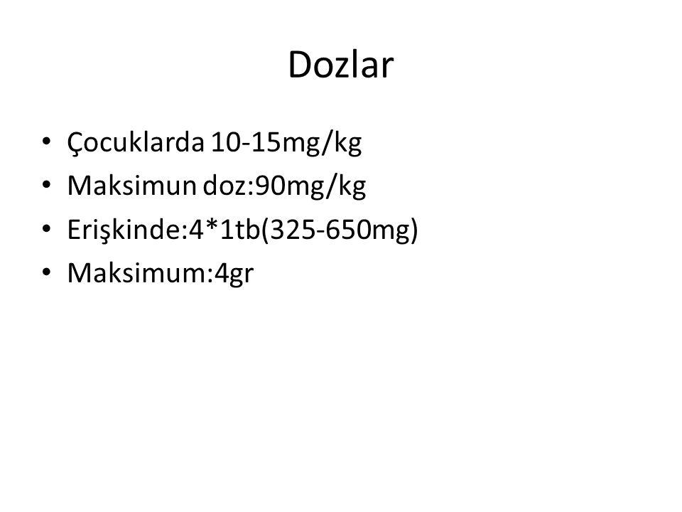 Dozlar Çocuklarda 10-15mg/kg Maksimun doz:90mg/kg Erişkinde:4*1tb(325-650mg) Maksimum:4gr