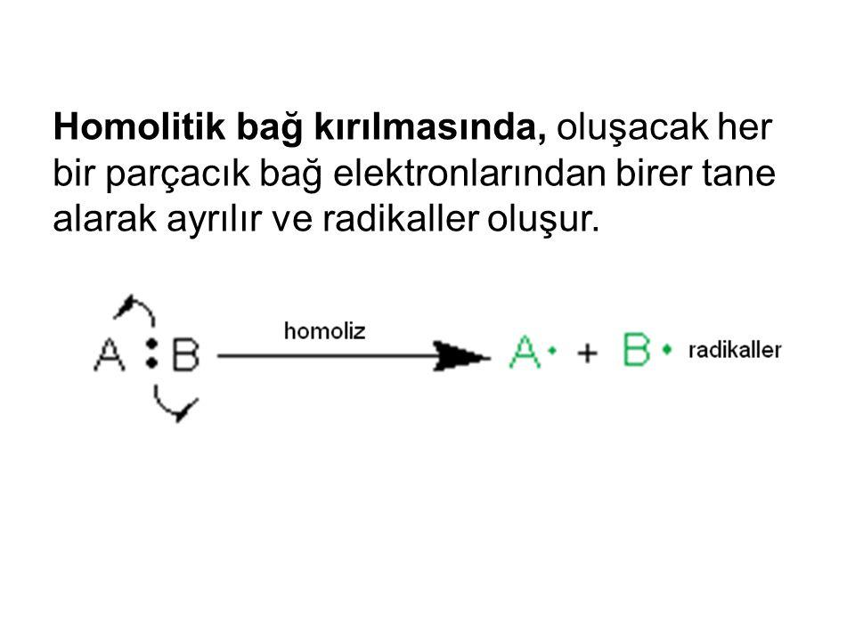 Homolitik bağ kırılmasında, oluşacak her bir parçacık bağ elektronlarından birer tane alarak ayrılır ve radikaller oluşur.