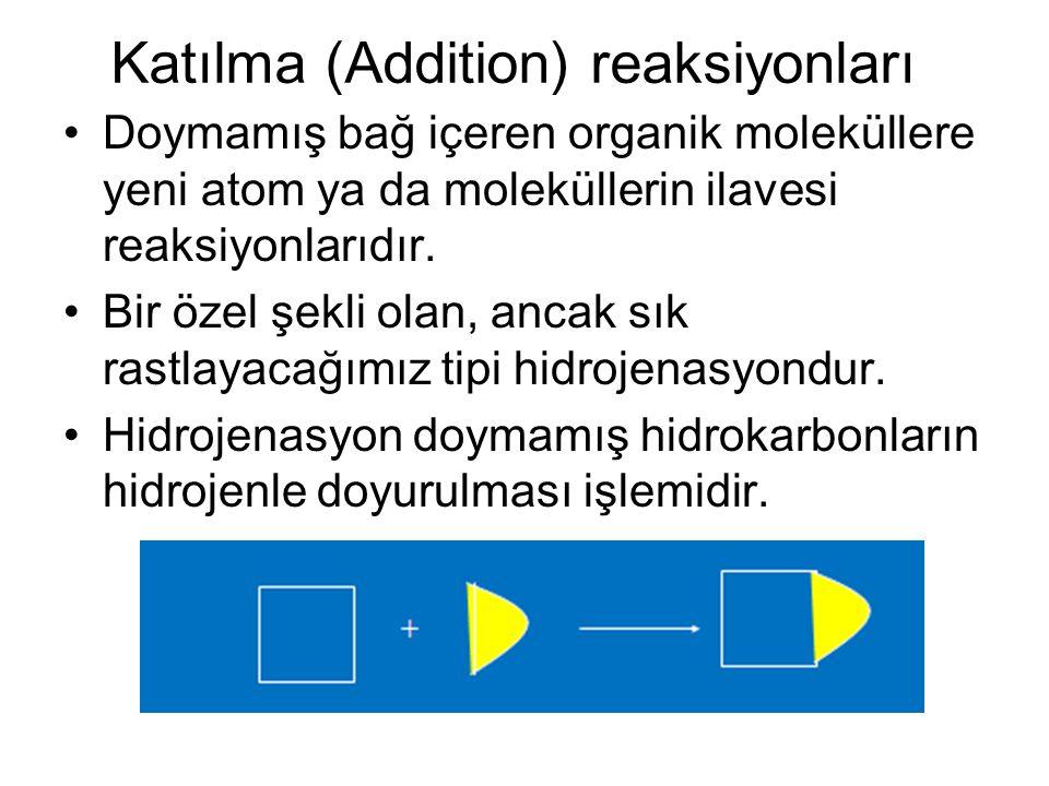 Katılma (Addition) reaksiyonları Doymamış bağ içeren organik moleküllere yeni atom ya da moleküllerin ilavesi reaksiyonlarıdır. Bir özel şekli olan, a
