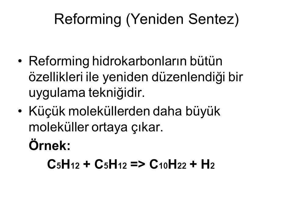 Reforming (Yeniden Sentez) Reforming hidrokarbonların bütün özellikleri ile yeniden düzenlendiği bir uygulama tekniğidir. Küçük moleküllerden daha büy