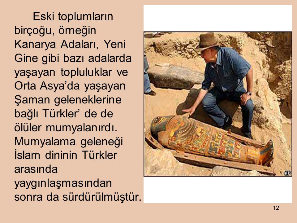 12 Eski toplumların birçoğu, örneğin Kanarya Adaları, Yeni Gine gibi bazı adalarda yaşayan topluluklar ve Orta Asya'da yaşayan Şaman geleneklerine bağlı Türkler' de de ölüler mumyalanırdı.