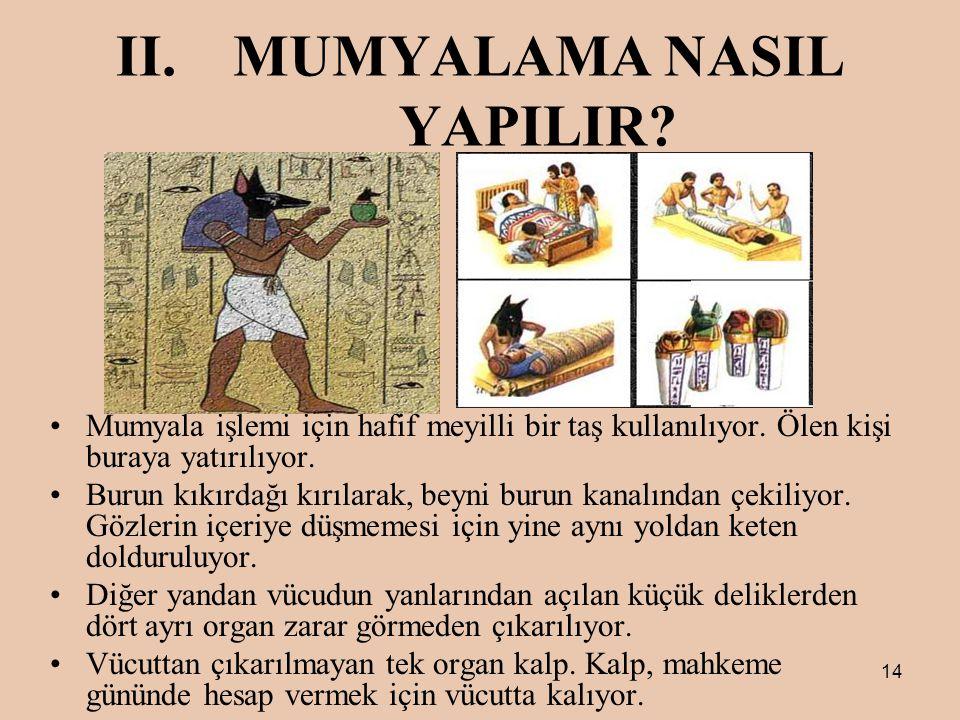 14 II.MUMYALAMA NASIL YAPILIR.Mumyala işlemi için hafif meyilli bir taş kullanılıyor.