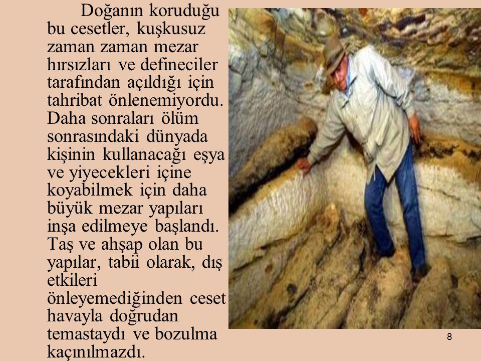 8 Doğanın koruduğu bu cesetler, kuşkusuz zaman zaman mezar hırsızları ve defineciler tarafından açıldığı için tahribat önlenemiyordu.