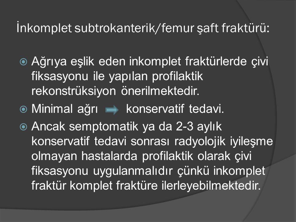 İnkomplet subtrokanterik/femur şaft fraktürü:  Ağrıya eşlik eden inkomplet fraktürlerde çivi fiksasyonu ile yapılan profilaktik rekonstrüksiyon öneri