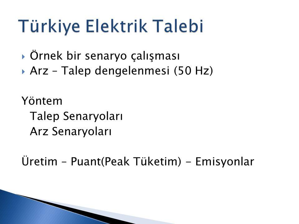  Örnek bir senaryo çalışması  Arz – Talep dengelenmesi (50 Hz) Yöntem Talep Senaryoları Arz Senaryoları Üretim – Puant(Peak Tüketim) - Emisyonlar