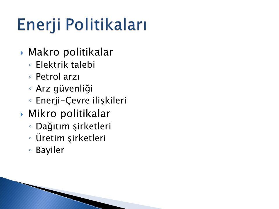  Makro politikalar ◦ Elektrik talebi ◦ Petrol arzı ◦ Arz güvenliği ◦ Enerji-Çevre ilişkileri  Mikro politikalar ◦ Dağıtım şirketleri ◦ Üretim şirketleri ◦ Bayiler