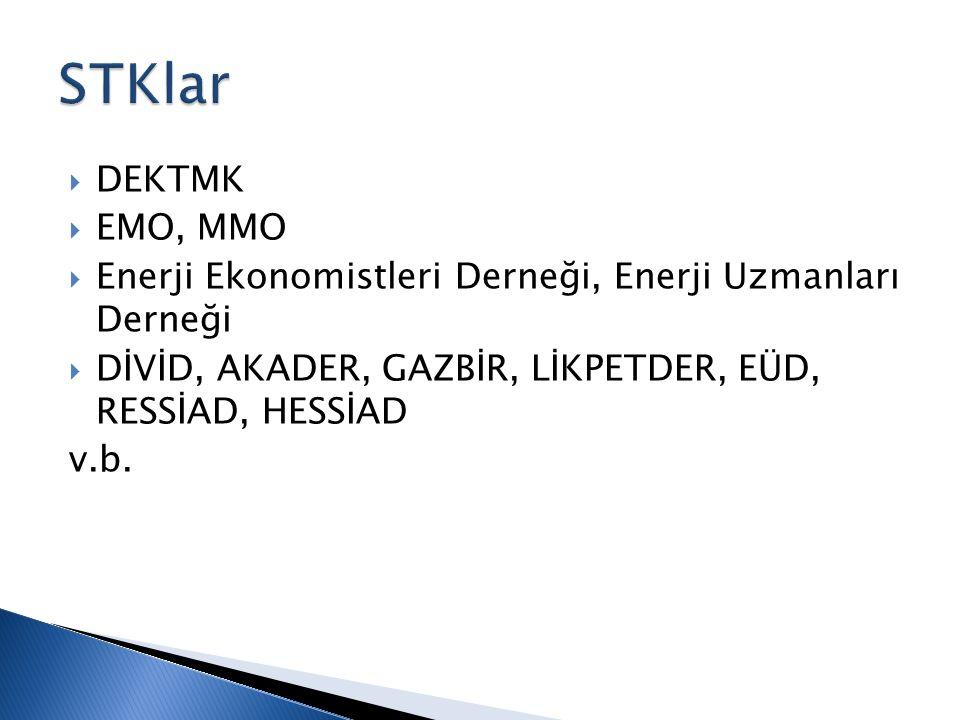  DEKTMK  EMO, MMO  Enerji Ekonomistleri Derneği, Enerji Uzmanları Derneği  DİVİD, AKADER, GAZBİR, LİKPETDER, EÜD, RESSİAD, HESSİAD v.b.