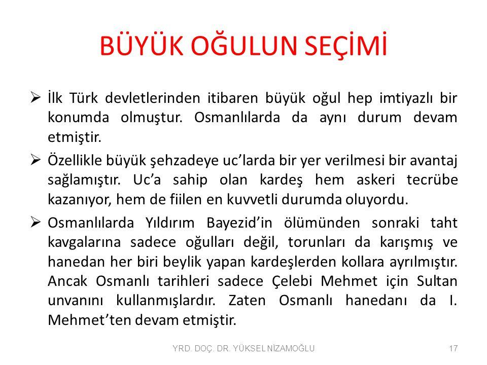 BÜYÜK OĞULUN SEÇİMİ  İlk Türk devletlerinden itibaren büyük oğul hep imtiyazlı bir konumda olmuştur. Osmanlılarda da aynı durum devam etmiştir.  Öze