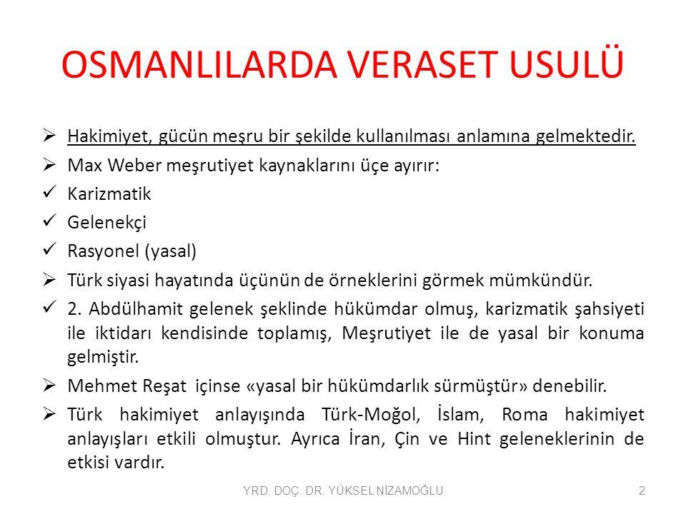 OSMANLILARDA VERASET USULÜ  Hakimiyet, gücün meşru bir şekilde kullanılması anlamına gelmektedir.  Max Weber meşrutiyet kaynaklarını üçe ayırır: Kar