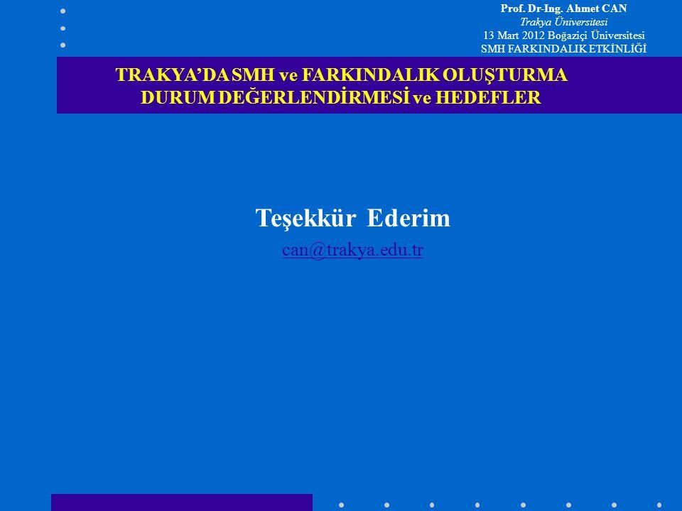 Teşekkür Ederim can@trakya.edu.tr TRAKYA'DA SMH ve FARKINDALIK OLUŞTURMA DURUM DEĞERLENDİRMESİ ve HEDEFLER Prof. Dr-Ing. Ahmet CAN Trakya Üniversitesi