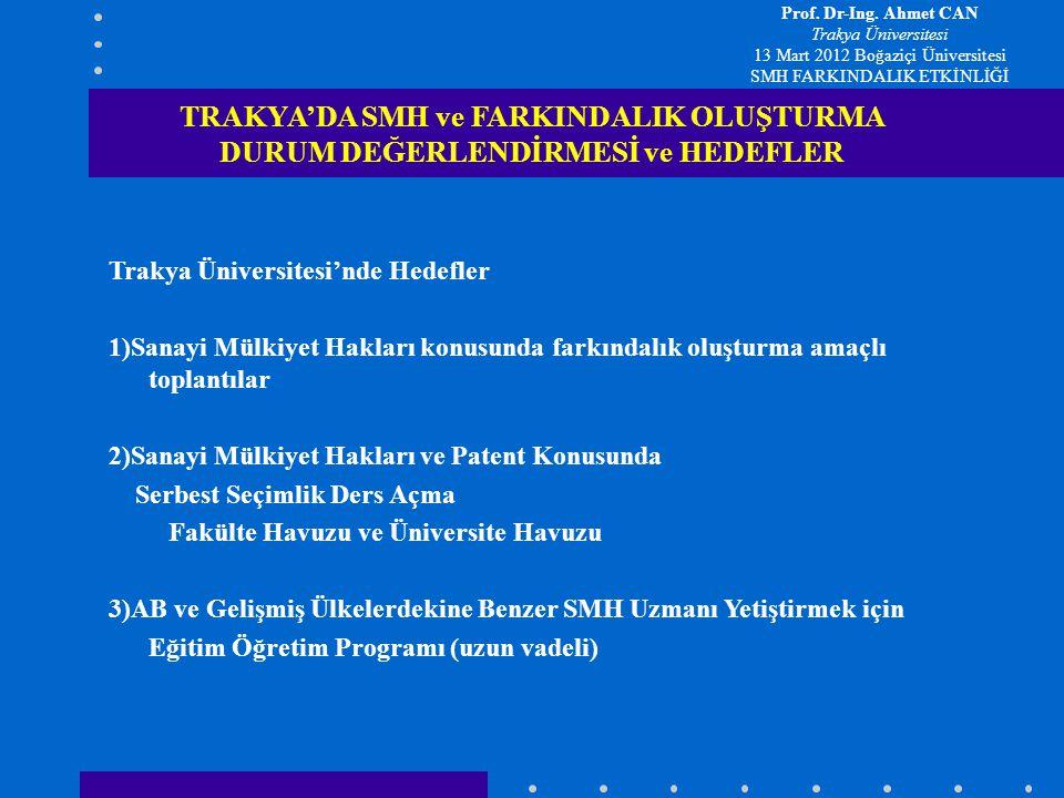 2012-2013 Güz Yarıyılından İtibaren Açılacak SMH ve Patent Bilgisi Seçimlik Ders İçeriği TRAKYA'DA SMH ve FARKINDALIK OLUŞTURMA DURUM DEĞERLENDİRMESİ ve HEDEFLER 1)Sanayi Mülkiyet Haklarına Tarihsel Bilgi ile Giriş 2)Sanayi Mülkiyet Hakları Konusunun Önemi Temel Kavramlar 3)Dünyada ve Türkiye'de Sanayi Mülkiyet Hakları Durum Tespiti İşletmelerde Düşünsel Varlık Yönetimi – Güncel Mevzuatın Tanıtılması ve Ekonomik Değer Oluşumundaki Rolünün Açıklanması 4) AR-GE Faaliyetleri ve Yenilikçilik (İnovasyon) Yönetimi Araştırma Konularının Belirlenmesinden önce Patent Veri Tabanlarından Yararlanma ve Ön Rapor Hazırlanması, 5) Hak Kazanma Süreçlerinin Tamamlanması AR-GE Faaliyeti sonunda ortaya çıkan ürünün faydaya dönüşümü, Ticarileştirilme Yöntemi 5.1) Tescile Tabi Haklar: *Buluşlar *Markalar *Tasarımlar 5.2) Tescile Tabi Olmayan Haklar: Düşünsel Haklar (Telif Hakları) 5.3) Diğer Haklar Prof.