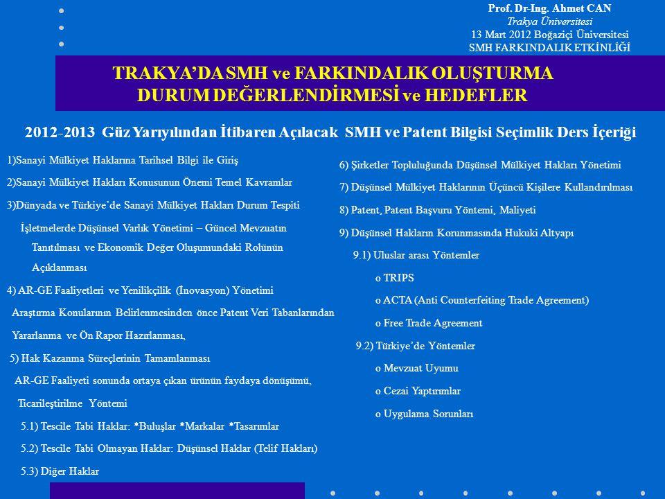 2012-2013 Güz Yarıyılından İtibaren Açılacak SMH ve Patent Bilgisi Seçimlik Ders İçeriği TRAKYA'DA SMH ve FARKINDALIK OLUŞTURMA DURUM DEĞERLENDİRMESİ
