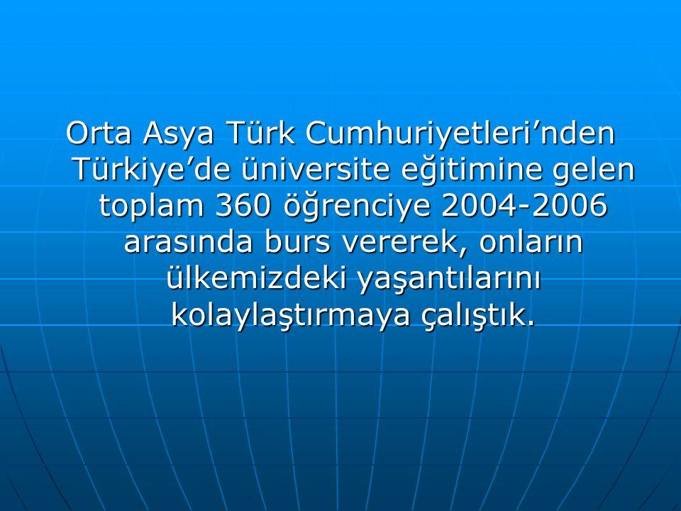 Orta Asya Türk Cumhuriyetleri'nden Türkiye'de üniversite eğitimine gelen toplam 360 öğrenciye 2004-2006 arasında burs vererek, onların ülkemizdeki yaşantılarını kolaylaştırmaya çalıştık.