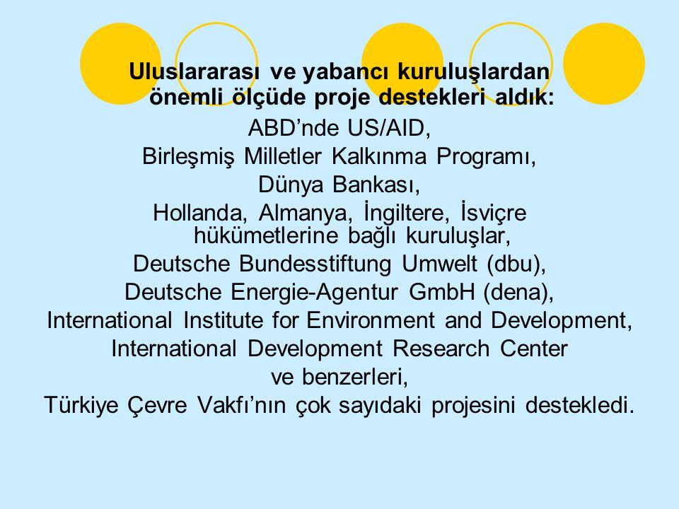 Uluslararası ve yabancı kuruluşlardan önemli ölçüde proje destekleri aldık: ABD'nde US/AID, Birleşmiş Milletler Kalkınma Programı, Dünya Bankası, Hollanda, Almanya, İngiltere, İsviçre hükümetlerine bağlı kuruluşlar, Deutsche Bundesstiftung Umwelt (dbu), Deutsche Energie-Agentur GmbH (dena), International Institute for Environment and Development, International Development Research Center ve benzerleri, Türkiye Çevre Vakfı'nın çok sayıdaki projesini destekledi.