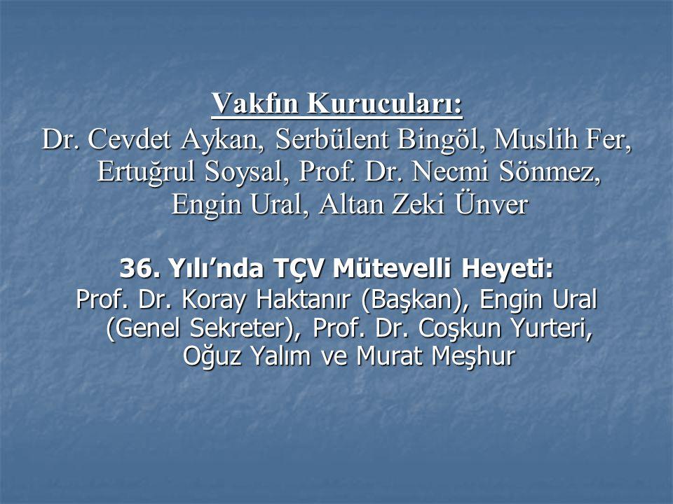 Vakfın Kurucuları: Dr. Cevdet Aykan, Serbülent Bingöl, Muslih Fer, Ertuğrul Soysal, Prof.