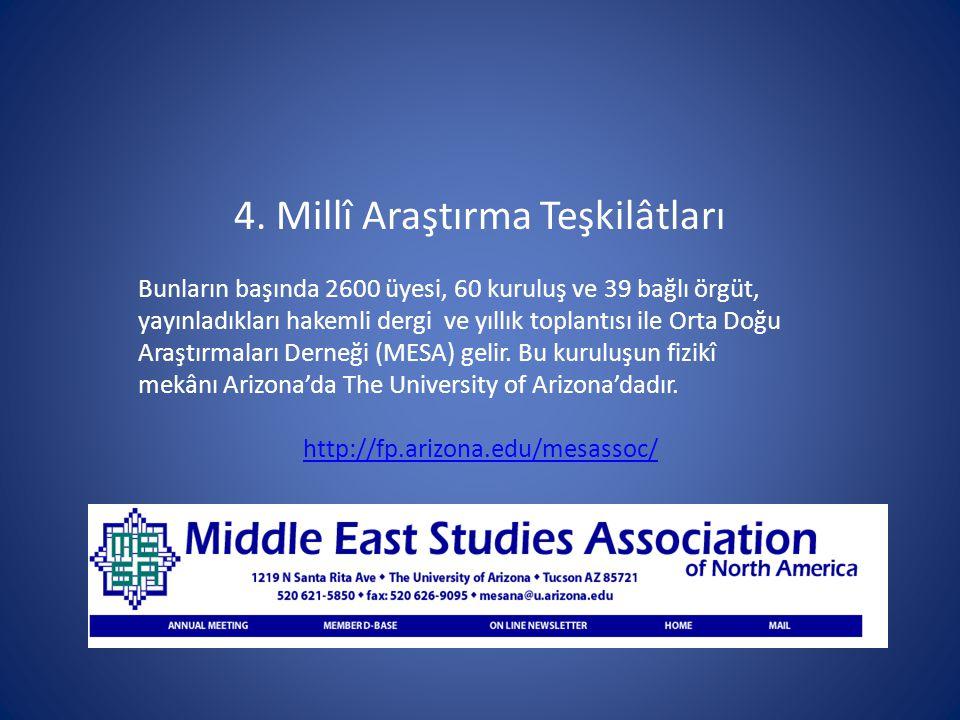 4. Millî Araştırma Teşkilâtları Bunların başında 2600 üyesi, 60 kuruluş ve 39 bağlı örgüt, yayınladıkları hakemli dergi ve yıllık toplantısı ile Orta