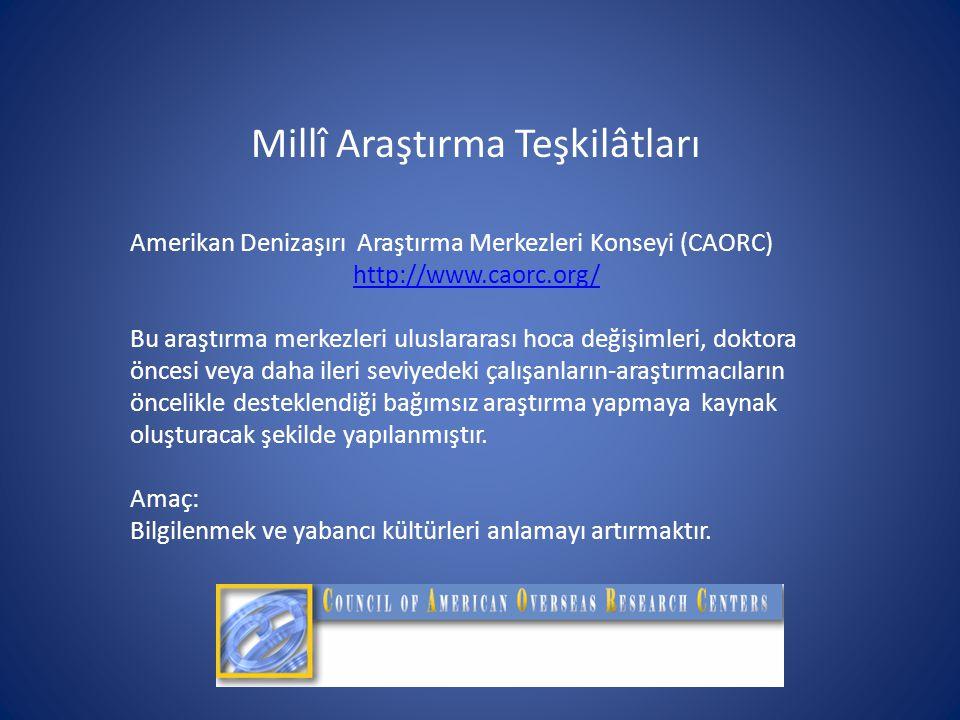 Millî Araştırma Teşkilâtları Amerikan Denizaşırı Araştırma Merkezleri Konseyi (CAORC) http://www.caorc.org/ Bu araştırma merkezleri uluslararası hoca