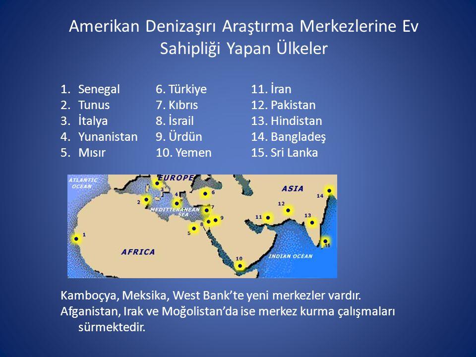 Amerikan Denizaşırı Araştırma Merkezlerine Ev Sahipliği Yapan Ülkeler 1.Senegal 6. Türkiye 11. İran 2.Tunus7. Kıbrıs 12. Pakistan 3.İtalya 8. İsrail13