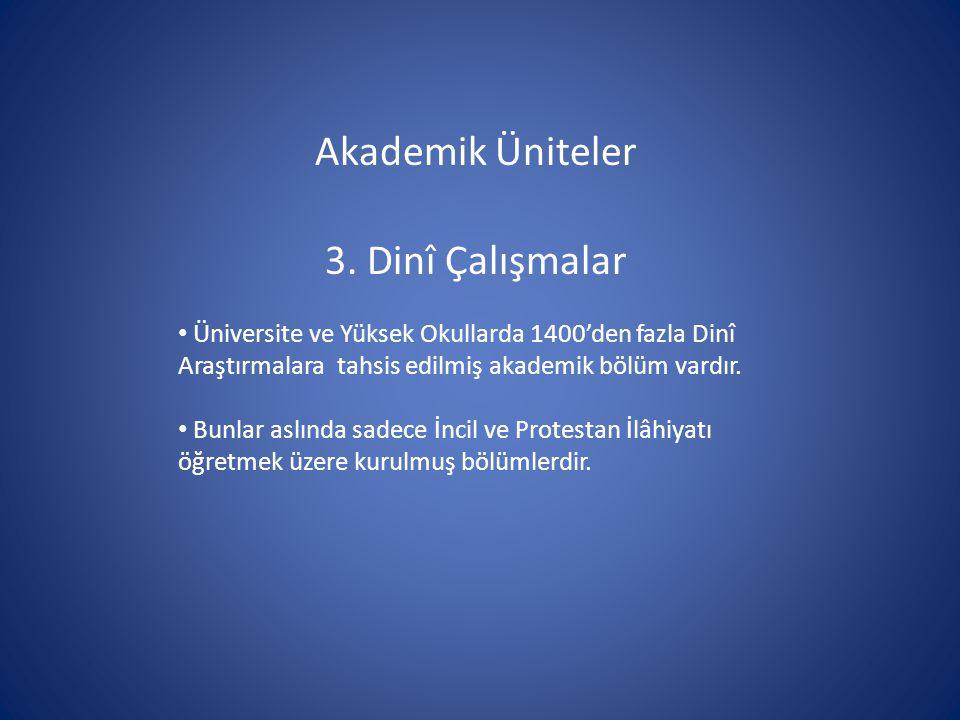 Akademik Üniteler 3. Dinî Çalışmalar Üniversite ve Yüksek Okullarda 1400'den fazla Dinî Araştırmalara tahsis edilmiş akademik bölüm vardır. Bunlar asl